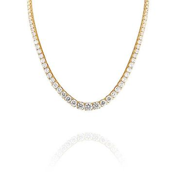 Graduate Round Solitaire Tennis Collar Necklace CZ 14K Gold Plated