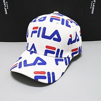 FILA Summer Women Men Sports Sun Hat Baseball Cap Hat White