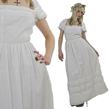 Vintage boho bridal dress prairie dress 70s white eyelet wedding dress lace hippie dress peasant dress