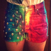 Rainbow Tie Dye High Waisted Shorts with Skull by BlackVelvetHeart