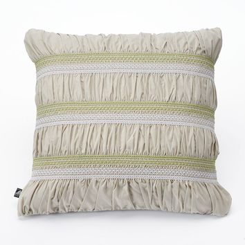 Nybg Liana Ruched Throw Pillow (Beige/Khaki)