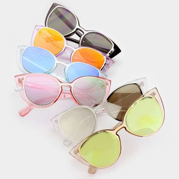 Oversized Cutout Pastel Round Cat Eye Sunglasses - Millie