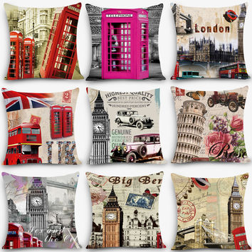 "london Print Home Decorative Cushion Throw Pillow 18"" Vintage Cotton Linen Square Pillows"