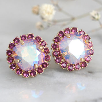 Purple Earrings, Bridal Purple Stud Earrings, Bridal Earrings, Orchid Purple Crystal Earrings, Bridesmaids Crystal Earrings, Gift For Her