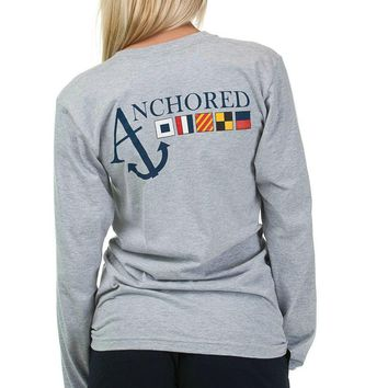 Nautical Flag Long Sleeve Tee Shirt in Heather Grey by Anchored Style - FINAL SALE