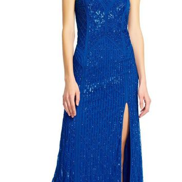Adrianna Papell - Strapless Beaded Slit Gown AP1E200657
