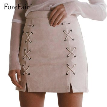 2016 High-Quality Faux Suede Leather Skirt Womens 90s Classic Vintage All-Match High Waist Lace-Up Split Bodycon Short Skirts