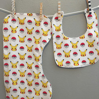 2 pc Pokemon Baby Gift Set Bib Burp Cloth
