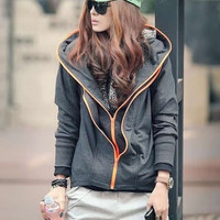 2014 Womens Korean Style Loose Double Zipper Hoodies Coat (One Size) (Size: M, Color: Gray) = 1932598852