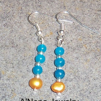 "Tribal Earrings: Handmade Genuine Sky Blue Quartzite and Genuine Golden Pearl ""Faith"""