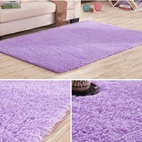 3 Sizes Purple Fluffy Rugs Anti-Skid Shaggy Area Rug Floor Mat Dining Room Home Bedroom Carpet