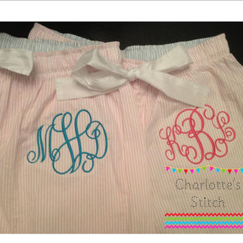 Monogrammed Pajama Pants - Pink and Blue Seersucker Styles