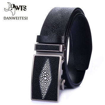 New Designer Automatic buckle Cowhide men Pearl fish stripe belt Luxury Genuine leather belts for crocodile men