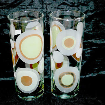 Atomic Glasses , Libbey Set of Tumblers , Planet and Universe , 1960 Glassware