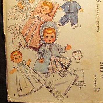 SALE Uncut/Cut 1950's McCall's Sewing Pattern, 2183! Baby Doll's Wardrobe/Doll Clothes/Infant Toddler Doll/Coat/Bonnet/Dress/Diaper/Slip/Bun