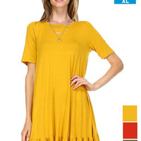 Bamboo Solid Short Sleeve Dress