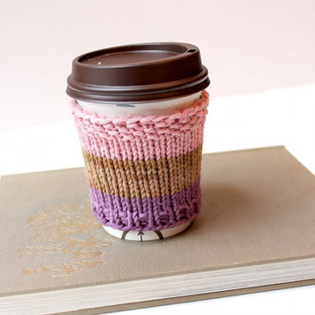 Vegan Coffee Cozy, Cotton Cup Cozy, Spring Coffee Sleeve, Organic Cup Sleeve, Knitted Cup Collar, Iced Drink Cozy, Gift for Her, Mothers Day