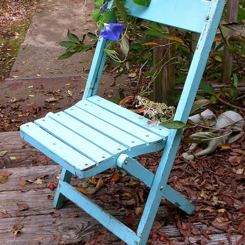Vintage Wooden Folding Chair, Robin's Egg Blue Paint, French Bistro, Slatted Seat, Picnic Furniture, Rustic Cottage Wedding Decor