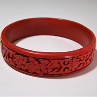 Carved Red Cinnabar Bangle Bracelet,  Asian Floral Design Bangle Bracelet, Classic Style Bangle, Arm Party, Costume Jewellery 617