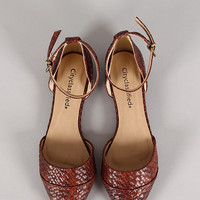 City Classified Merced-S Ankle Strap Woven Pointy Toe Flat