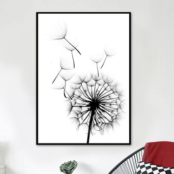 VERASUN Dandelion Pop Art Poster Black And White Wall Art Canvas Painting Nordic Poster Wall Pictures For Living Room Quadro