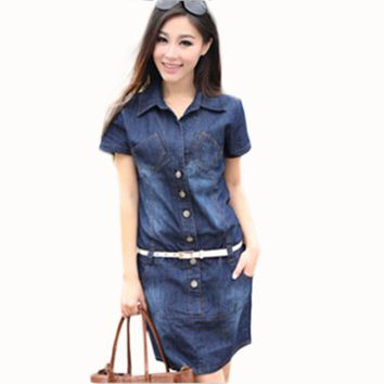 Women's Dress Summer Style Plus Size Dresses Denim Vestidos Short Sleeve Loose-fitting Dress Casual Clothes 2015 Hot C26