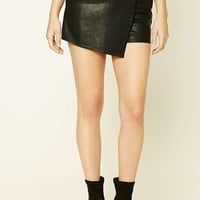 Asymmetrical Faux Leather Skort