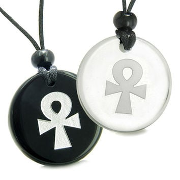 Amulets Love Couple Ankh Power of Life Spirit Powers Quartz Black Agate Pendant Necklaces