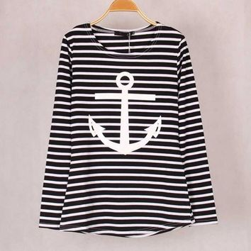 2018 Colors Striped With Printed Anchor Women T-shirts Long Sleeve Cotton Autumn Winter Under Shirts Tops Tees For Woman  S/xl