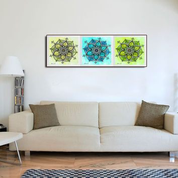 Yoga Studio Wall Decor, Turquoise Green & Yellow Mandalas PRINT - 3 Piece Art -  Watercolor painting - Nursery room decor - Gift for her