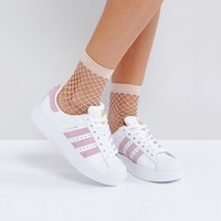 adidas Originals White And Pink Superstar Bold Sole Sneakers at asos.com