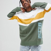 Tommy Jeans Oversized Sweatshirt Colourblock Stripe in Green/White at asos.com