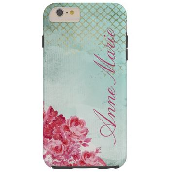 Pretty Teal Cottage Chic Grunge iPhone 6 Case