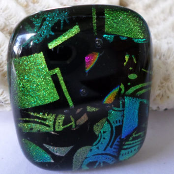 Teal Green Abstract   Dichroic Glass Cabochon Cab  Teal Pendant  Colorful Vibrant Mosaic Fused Glass  PMC Wire Wrap