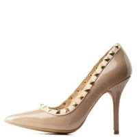 Natural Studded Pointed Toe Pumps by Charlotte Russe