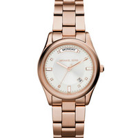 Michael Kors Mid-Size Rose Golden Stainless Steel Colette Three-Hand Glitz Watch