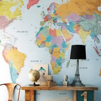 World Map Wallpaper - Prints & Wall Art - Wall & Floors - Home Accessories