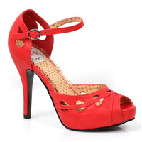 Red Peep Toe Dawn Cut Out Heels