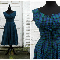 Vintage 50s dress Holiday shopping Elegant Cocktail Party Swing Full Circle Evening Dress