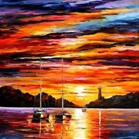 BY THE ENTRANCE TO THE HARBOR —  Oil Painting On Canvas By Leonid Afremov 20x36""