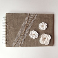 Linen Guest Book, Rustic Guest Book, Country Guest Book, Wedding Guest Book, Rustic Lace Guest Book, Rustic Journal