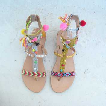 Boho Sandals/Leather Gladiator Sandals/Womens gladiator/Sandals/Swarovski boho sandals/Boho/Indie/Hippie/Greek Sandals/Bohemian shoes/sandal