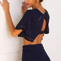 Cupshe Crop Top Lace Trim Shorts Matching Sets