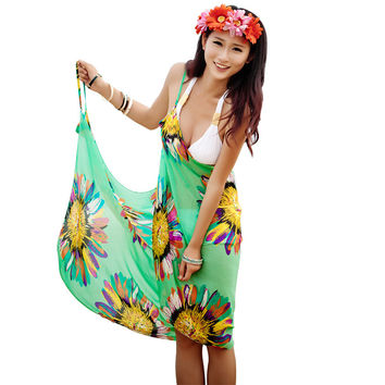 Floral Pint Summer Style Beach Dress Swimwear Women Bikini Cover Up
