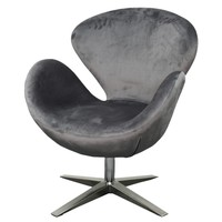 Beckett Fabric Swivel Chair Chrome Legs, Shadow Gray