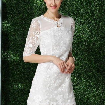 White Ruffled High Neckline Half Sleeve Lace Bodycon Dress
