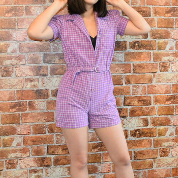 Vintage 80s Purple Plaid Puffy Sleeves Romper
