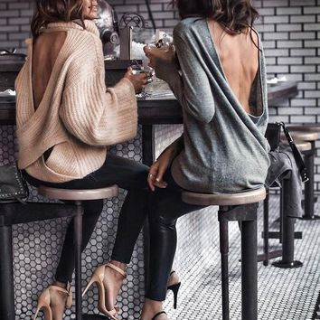 Oversized Open-Back Turtleneck Pullover