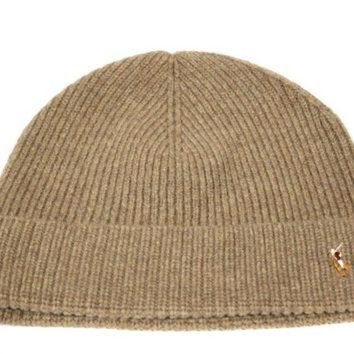 Polo Ralph Lauren's Adult's Merino Light Brown Beanie Hat OS