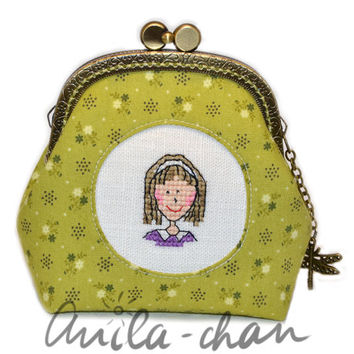 "Hand-embroidered cross stitch face green floral purse ""Pretty woman"""
